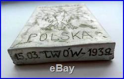 Original Polish Ww2 Cigarette Case + Photo + Medal, Armia Krajowa, 1939-1944