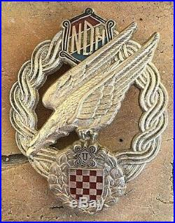 Original Ustasa Ww2 Croatia Air Force Paratrooper Badge Wwii Medal Ndh