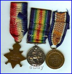 Original WW1 1914-15 Trio of medals Berkshire Regt Died of Wounds 1/7/16 12725
