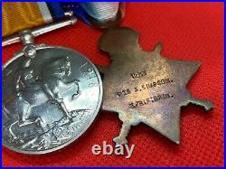 Original WW1 Mons 1914 Star Medal Trio and ISM, Pte A. Simpson, Rifle Brigade