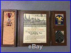 Original WW2 Antwerp Belgium Certificate Medal Ribbons Patches