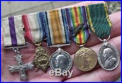 Original Ww1 MC Military Cross Trio, Mid, Territorial Miniature Medal Group