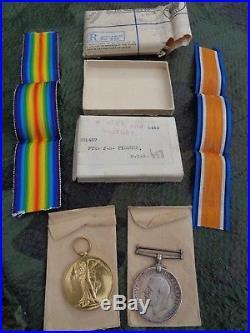 PAIR WW1 MEDALS MACHINE GUN CORPS UNWORN & Original Box, Envelope, Ribbons