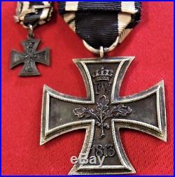 Pre Ww1 1870 Germany Iron Cross 2nd Class Medal 25 Year Oak Leaf & Miniature