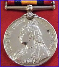 Pre Ww1 British Army Boer War Queens Mediterranean Medal Northumberland Fusilier