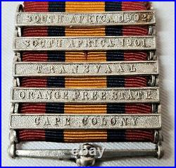 Pre Ww1 Queens South Africa Boer War Medal 5 Clasps Vallance 7th Dragon Guards