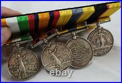 Pre Ww1 Sudan & Boer War Medal Group 4398 Tait Seaforth Highlanderes Crete Malta