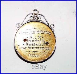 RARE WW1 Australian AIF 15Kt Gold Return Medal Lieut J McIntosh Gt Northern 1920