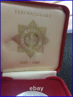 Rare 22nd Cheshire Regiment Tercentenary Commemorative Silver Medal Post Ww2