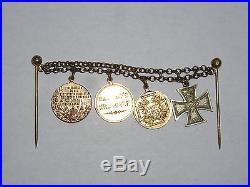 Rare WW I World War 1 German Gilt Bar with 4 Miniature Medals High Dress Uniform