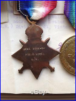 Royal Marines WW1 medals trio with papers