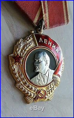 Russian WW2 Medal Lenin Gold Platinum Soviet Military Order #386439