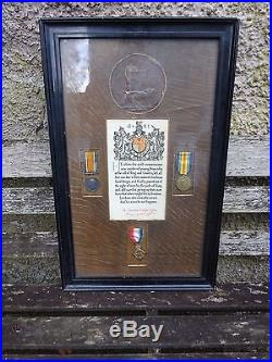 Scarce WW1 medal trio & plaque Army Cyclist Corps Gallipoli Low number 34