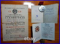Soviet Russian WW2 Stalingrad 1943 Medal For Bravery Order Glory Document Group