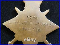 Trio Of Ww1 Medals 1553 L. Cpl. T. H. Lincoln. Linc. Yeo