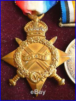 TRIO WORLD WAR ONE MEDALS 2nd LIEUTENANT KINGS OWN SCOTTISH BORDERERS BOXED