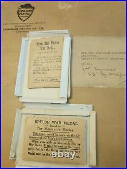 UNIQUE WW1 CPR Merchant Marine Medals, Ephemera & Certificate Of Gratitude