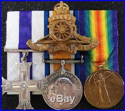VINTAGE & RARE WW1 BRITISH ARMY MILITARY CROSS MEDAL GROUP 277th BTY R. G. A
