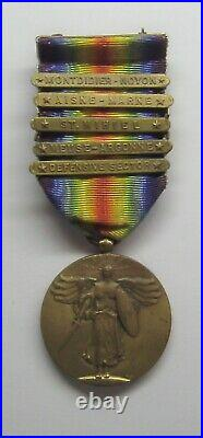 VINTAGE WW I Victory Medal with 5 Battle Bars MONTDIDIER-NOYON
