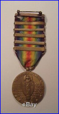VINTAGE WW I Victory Medal with 5 Battle Bars SOMME