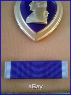 Vintage WW2 Purple Heart Medal & Case, WWII Authentic Military Memorabilia