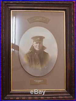 Vintage Ww1 Framed Picture Australian Kia Soldier West Australian Aif Anzac