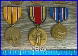 Vintage Ww2 Usmc Marine Corp Campaign Victory American Defense Medals 98a