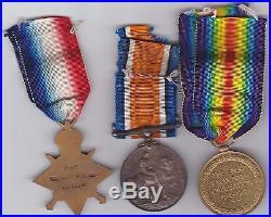 WW1 1914-15 Medal Trio to 7 / 397 Tpr W J V Sinclair NZEF Died 6-5-1917 GEF cond