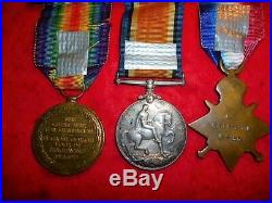 WW1 1914-15 Star Medal Trio to 1st Mounted Rifles Chapman, South African