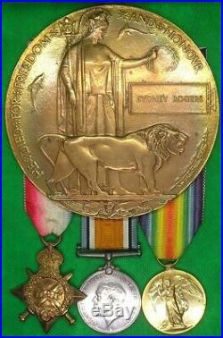 WW1 1914-15 TRIO OF MEDALS & MEMORIAL PLAQUE, 8th E. SURREY. R, KIA 1918, PTE ROGERS