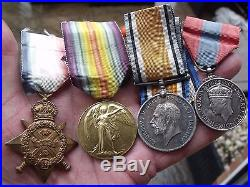 WW1 1914 MONS STAR MEDAL GROUP, TRIO & IMPERIAL SERVICE MEDAL, McDONALD. R. E