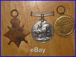 WW1 British Group Medal 1914-1915 Star Trio Commissioned Gunner Royal Navy