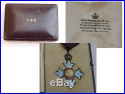 WW1 CBE Sterling Silver/Guilloche Enamel Medal with case Garrards, London