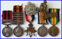 WW1 CEF CANADIAN 5 MEDAL GROUP BOER WAR 6-Clasp QSA & INDIA SERVICE to C. F. A