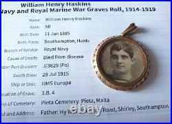 WW1 Death Plaque & 1915 Star Trio Medals to Haskins, Royal Navy, Died, Malta