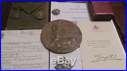 WW1 Death Plaque, Envelope & Letter & War & Victory Medals Pair & Cap Badges KIA