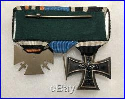 WW1 German Army Iron Cross Ek2 Hindenburg Service Medal Badge Ribbon Bar WW2