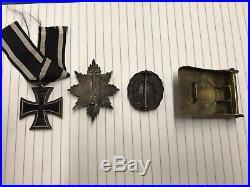 WW1 German Iron Cross EK2 Field Honor Badge Wound Medal Belt Buckle Prussian