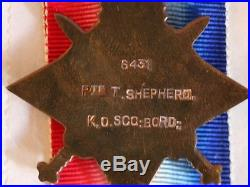 WW1 Medals 200364 Private Thomas Shepherd Kings Scottish Borderers Death Plaque