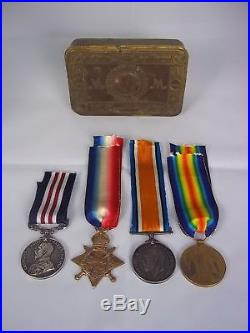 WW1 Military Medal & 1914/15 Star Trio 8th Border Reg