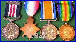WW1 Military Medal & trio, C, BTY, 174th Bde. R. F. A, KIA F&F 1-9-18 From Acton