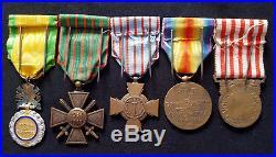 WW1 Original set French Medals War Cross citation 1914-1918 Bronze star