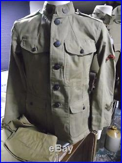 WW1 US I'd 20th Engineers Summer Tunic + trousers + paperwork + medal & Photo