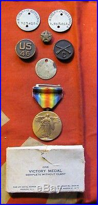 WW1 U. S. ARMY COMPANY C 46th REGIMENT 9th DIVISION VICTORY MEDAL GROUP AEF