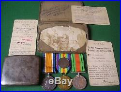 WW1 & WW2 10th WEST YORKSHIRE REGIMENT MEDAL GROUP WITH ENGRAVED CIGARETTE CASE