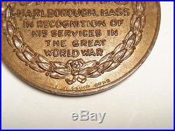 WW1 WWI Medal Marlborough, Massachusetts. THE GREAT WORLD WAR