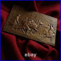 WW2 1931 Bronze Statue Medal Marschall Horse Warrior Austria Bundesheer Army Gun