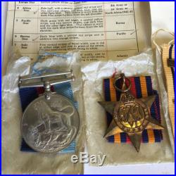 WW2 1939-45 Atlantic Africa Burma Star War Medal Pacific Clasp Boxed Whitting