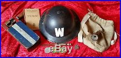 WW2 British ARP Wardens Brodie Helmet Gas Rattle Medal Whistle Torch Haversack