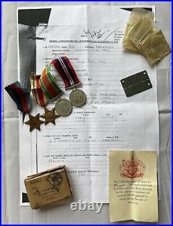 WW2 British Tobruk POW Medals Stars North Africa & His German Stalag Dog Tag RE